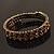 Burn Gold Amber Coloured Crystal Multistrand Flex Bangle Bracelet - view 2