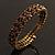 Burn Gold Amber Coloured Crystal Multistrand Flex Bangle Bracelet - view 7
