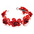 Coral Red Floral Shell Flex Cuff Bracelet - view 5
