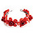 Coral Red Floral Shell Flex Cuff Bracelet - view 6