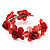 Coral Red Floral Shell Flex Cuff Bracelet - view 7