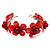 Coral Red Floral Shell Flex Cuff Bracelet - view 4