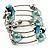 Silver-Tone Beaded Multistrand Flex Bracelet (Light Blue) - view 6