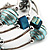 Silver-Tone Beaded Multistrand Flex Bracelet (Light Blue) - view 3
