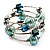 Silver-Tone Beaded Multistrand Flex Bracelet (Light Blue) - view 4