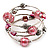 Silver-Tone Beaded Multistrand Flex Bracelet (Light Pink)
