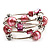 Silver-Tone Beaded Multistrand Flex Bracelet (Light Pink) - view 5