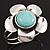 Large Turquoise Stone Flower Hinged Bangle Bracelet (Antique Silver)