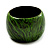 Oversized Chunky Wide Wood Bangle (Black & Grass Green) - view 8