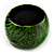 Oversized Chunky Wide Wood Bangle (Black & Grass Green) - view 7