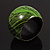 Oversized Chunky Wide Wood Bangle (Black & Grass Green) - view 5