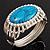 Vintage Oval Shape Turquoise Stone, Crystal Hinged Bangle Bracelet