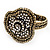 Vintage Mesh Crystal Flower Hinged Bangle Bracelet In Bronze Tone Metal - 18cm Length