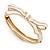 Stylish Snow White Enamel Bow Hinged Bangle Bracelet In Gold Plated Metal - 18cm Length