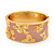 Wide Pink Enamel 'Flower & Butterfly' Hinged Bangle In Gold Plated Metal - 18cm Length