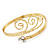 Gold Tone Textured Crystal 'Twirly' Upper Arm Bracelet Armlet - 28cm Long - Adjustable - view 10