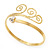 Gold Tone Textured Crystal 'Twirly' Upper Arm Bracelet Armlet - 28cm Long - Adjustable - view 11