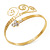 Gold Tone Textured Crystal 'Twirly' Upper Arm Bracelet Armlet - 28cm Long - Adjustable - view 12
