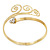 Gold Tone Textured Crystal 'Twirly' Upper Arm Bracelet Armlet - 28cm Long - Adjustable - view 13