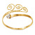 Gold Tone Textured Crystal 'Twirly' Upper Arm Bracelet Armlet - 28cm Long - Adjustable - view 14