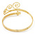Gold Tone Textured Crystal 'Twirly' Upper Arm Bracelet Armlet - 28cm Long - Adjustable - view 15