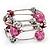 Silver-Tone Beaded Multistrand Flex Bracelet (Fuchsia Pink) - view 2