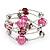 Silver-Tone Beaded Multistrand Flex Bracelet (Fuchsia Pink) - view 5