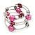 Silver-Tone Beaded Multistrand Flex Bracelet (Fuchsia Pink) - view 8