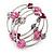 Silver-Tone Beaded Multistrand Flex Bracelet (Fuchsia Pink) - view 6