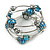 Silver-Tone Beaded Multistrand Flex Bracelet (Dark Teal Blue) - view 2