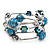 Silver-Tone Beaded Multistrand Flex Bracelet (Dark Teal Blue) - view 4