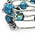 Silver-Tone Beaded Multistrand Flex Bracelet (Dark Teal Blue) - view 5