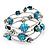 Silver-Tone Beaded Multistrand Flex Bracelet (Dark Teal Blue) - view 6