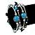 Silver-Tone Beaded Multistrand Flex Bracelet (Dark Teal Blue) - view 3