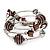 Silver-Tone Beaded Multistrand Flex Bracelet (Chocolate Brown) - view 4