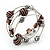 Silver-Tone Beaded Multistrand Flex Bracelet (Chocolate Brown) - view 3