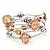 Silver-Tone Beaded Multistrand Flex Bracelet (Apricot Yellow) - view 3