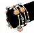 Silver-Tone Beaded Multistrand Flex Bracelet (Apricot Yellow) - view 2