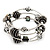 Silver-Tone Beaded Multistrand Flex Bracelet (Black) - view 4
