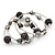Silver-Tone Beaded Multistrand Flex Bracelet (Black) - view 6