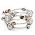 Silver-Tone Beaded Multistrand Flex Bracelet (White) - view 4
