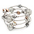Silver-Tone Beaded Multistrand Flex Bracelet (White) - view 1