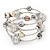 Silver-Tone Beaded Multistrand Flex Bracelet (White) - view 7