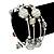 Silver-Tone Beaded Multistrand Flex Bracelet (White) - view 2