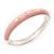 Light Pink Diamante Enamel Hinged Bangle Bracelet In Rhodium Plated Metal -17cm Length