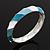 Light Blue/White Enamel Twisted Hinged Bangle Bracelet In Rhodium Plated Metal - 19cm Length