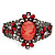 Victorian Style Cameo Red Diamante Bangle Bracelet (Gun Metal Finish)