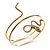 Antique Gold Textured Snake Armlet Bangle - up to 29cm upper arm - view 11