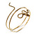 Antique Gold Textured Snake Armlet Bangle - up to 29cm upper arm - view 3