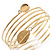 Gold Plated Crystal Leaf Armlet Bangle - up to 28cm upper arm - view 6